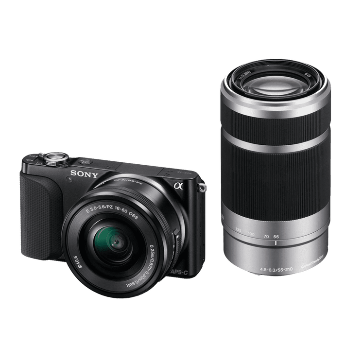 NEX3 16.1 Mega Pixel Camera Body (Black) with SELP1650 and SEL55210 Lens, , product-image