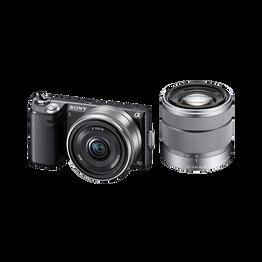16.1 Megapixel Camera with SEL1855 and SEL16F28 Lens (Black), , hi-res