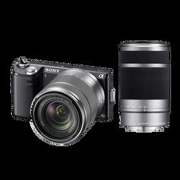 NEX5 16.1 Mega Pixel Camera (Black) with SEL1855 and SEL55210 Lens, , hi-res