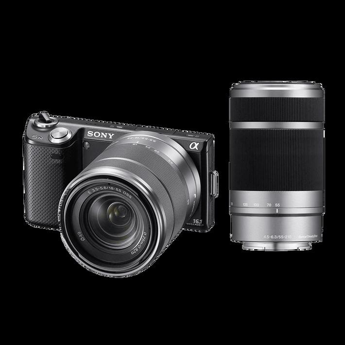 NEX5 16.1 Mega Pixel Camera (Black) with SEL1855 and SEL55210 Lens, , product-image