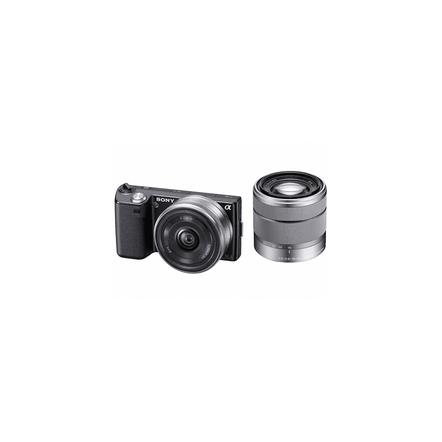 16.1 Mega Pixel Camera (Black) with SEL16F28 and SEL 1855 lenses, , hi-res